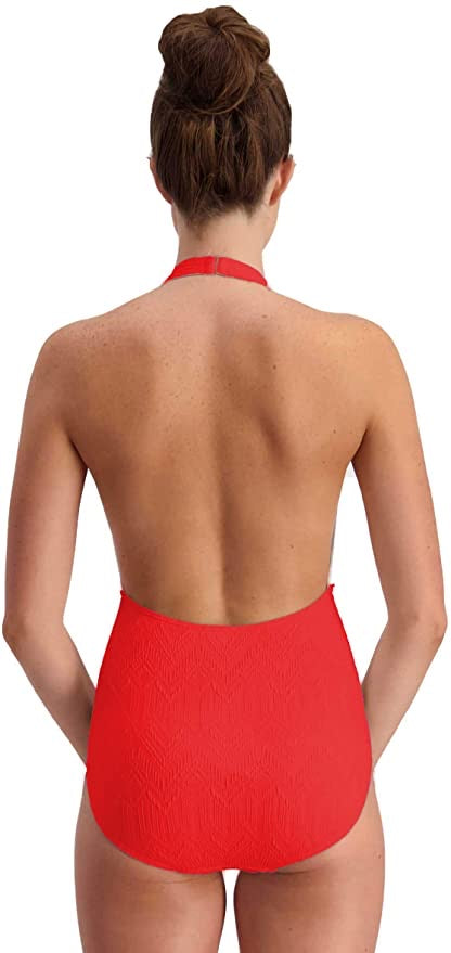 Red halter swimsuit