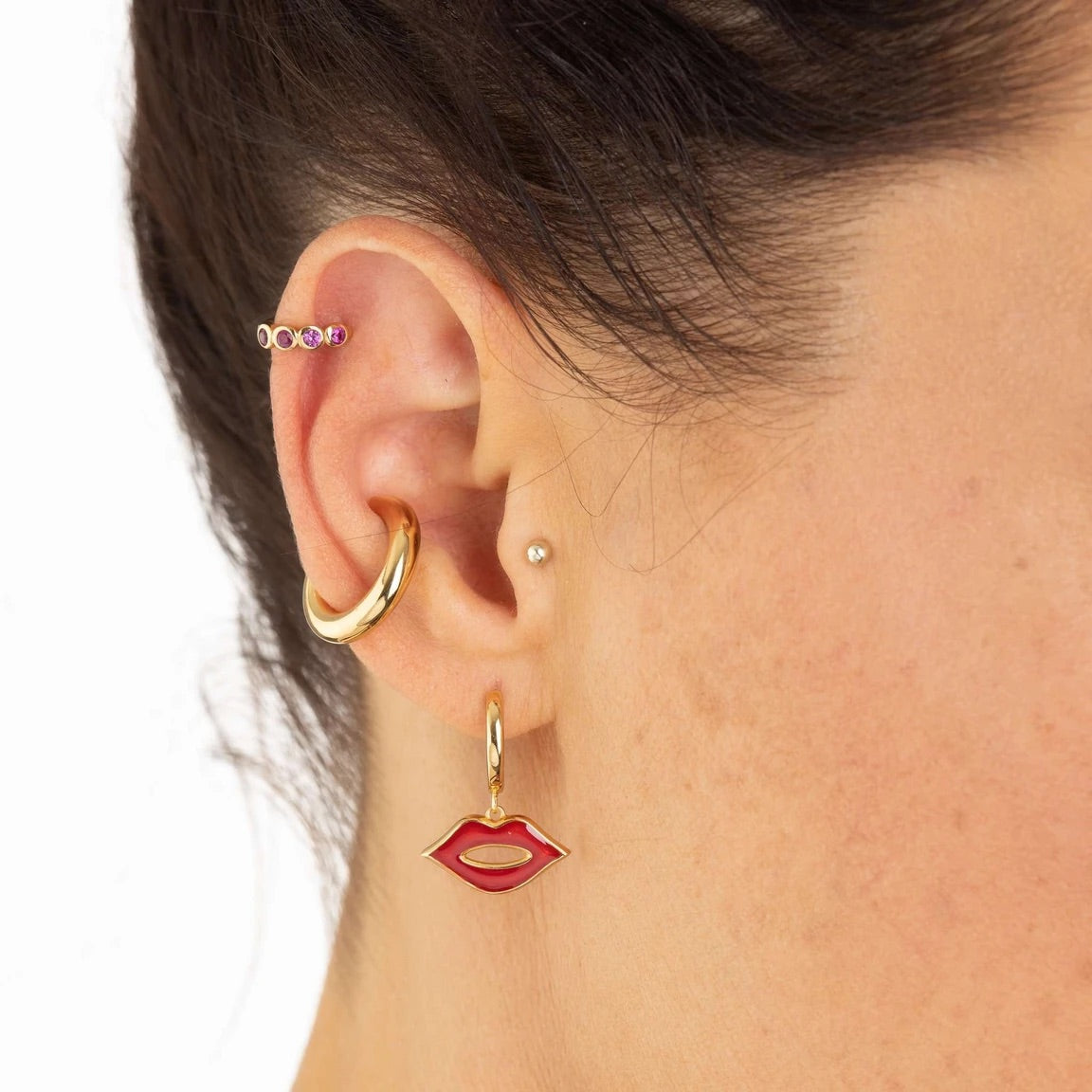Red lips hoop earrings - Gold plated