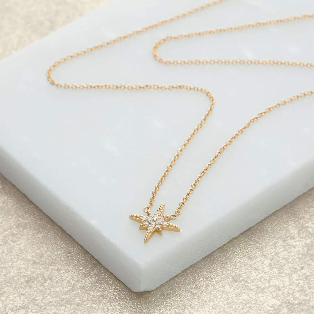 starburst necklace with slider clasp - gold