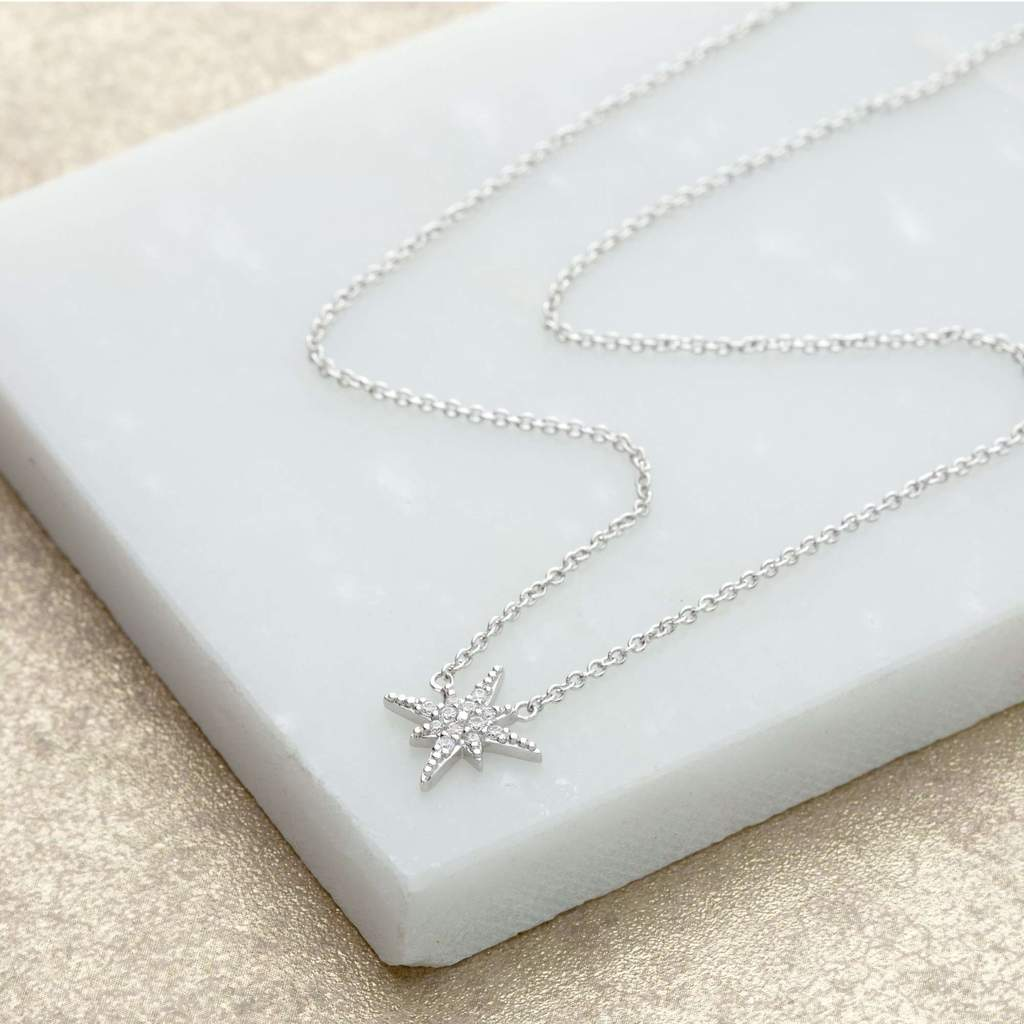 starburst necklace with slider clasp - silver