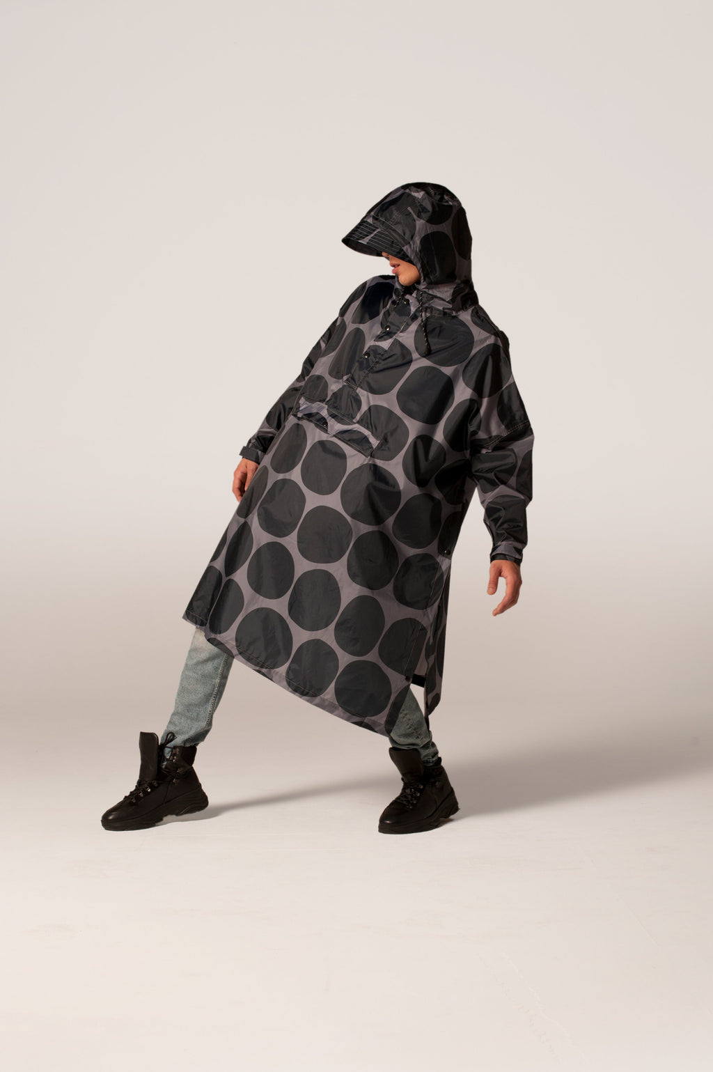 Black polka dot poncho
