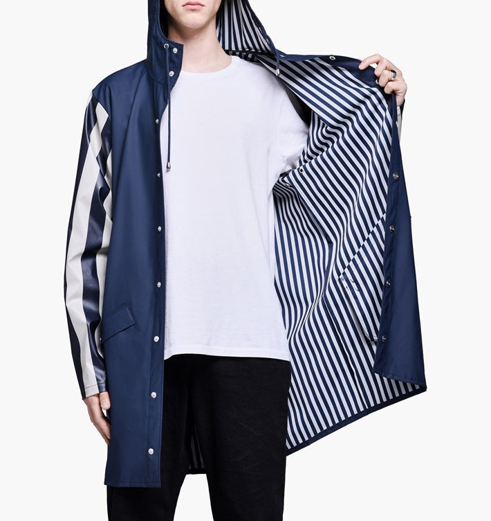 limited long jacket distorted stripes - rains