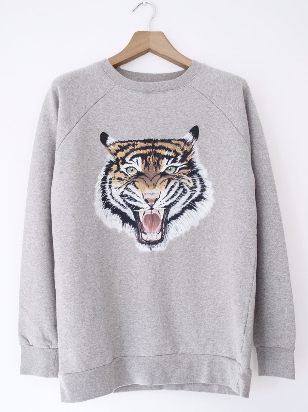 women's oversized grey tiger sweatshirt
