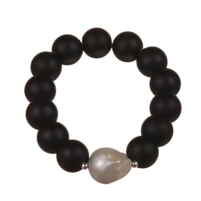 14 mm matt onyx bracelet with a baroque pearl