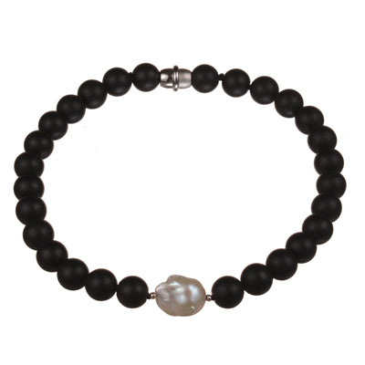 Matt black onyx necklace with a large baroque pearl feature