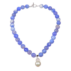 Blue agate necklace with a stunning hanging white baroque pearl