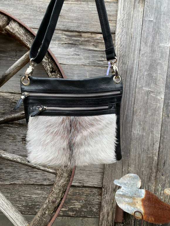 Goat hide leather shoulder bag