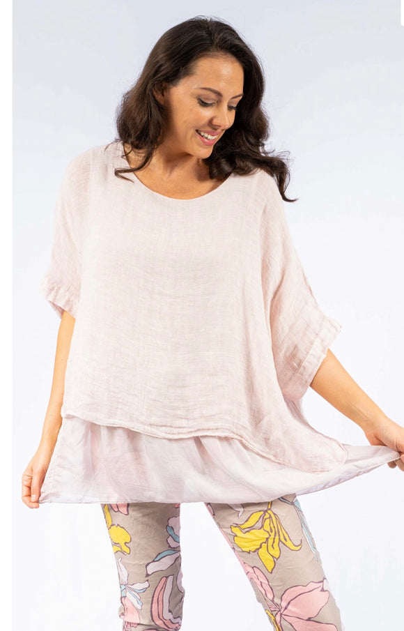 Ferrara lined linen tunic with silk hem- 2 colours
