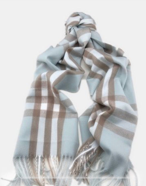 Thin Plaid Cashmere Scarf
