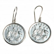 Sixpence dangle earring
