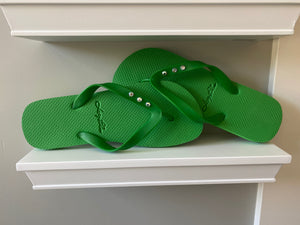 Lucy Blue Green 3 Crystal Flip Flops