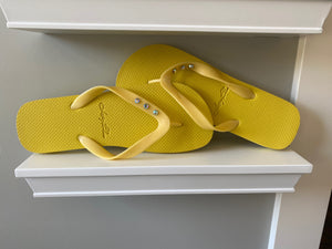 Lucy Blue Yellow 3 Crystal Flip Flops