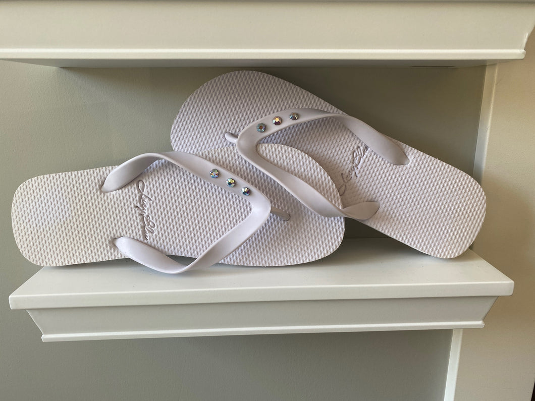 Lucy Blue White 3 Crystal Flip Flops