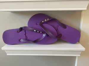 Lucy Blue Flip Flops Purple 3 Crystals