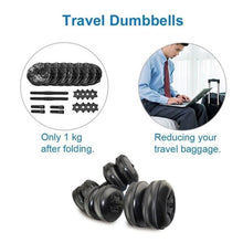 Load image into Gallery viewer, Blue/Black Water Filled Travel Dumbbells Set 20-25KG(44-55LBS)