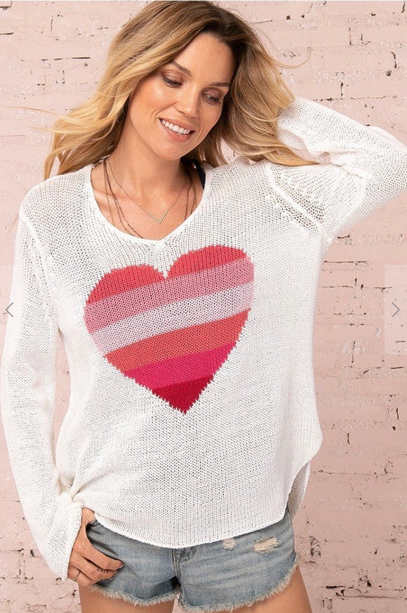 Wooden Ships Rainbow Heart V Cotton Pullover