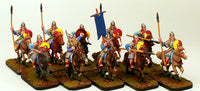 28mm Pro-Painted-10 Man Dark Age Cavalry Unit-Officer-Standard-Ready to Ship
