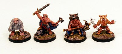 28mm Ganesha Games Dwarf Pelt Warriors 1-Pro-Painted 4 Miniatures: Ready to Ship