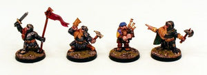 28mm Ganesha Games Dwarves Command Group-Pro-Painted 4 Miniatures:Ready to Ship