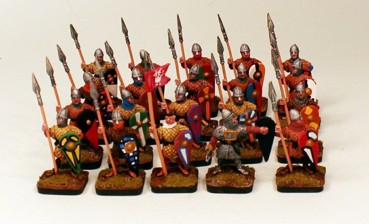 28mm Pro-Painted 20 Man Norman Medieval Soldier Unit with Officer and Standard