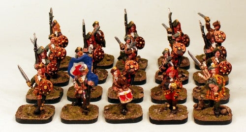Jacobite Highland Unit-20 Pro-Painted 28mm Miniatures-NEW Listing