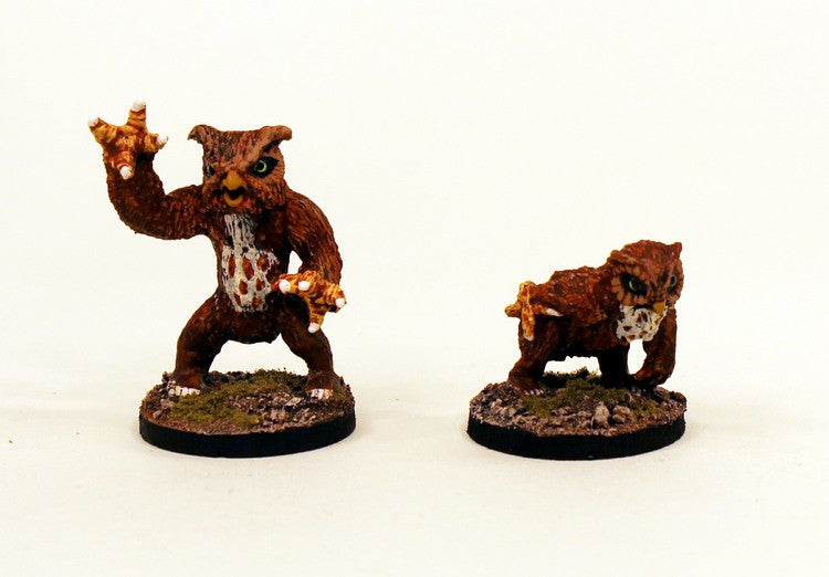 28mm Fantasy Classic Monsters -VNT8 Grizzly Owls-Pro-Painted 2 Miniatures