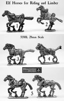 51501L Elf Horses for Riding and Limber 28mm scale