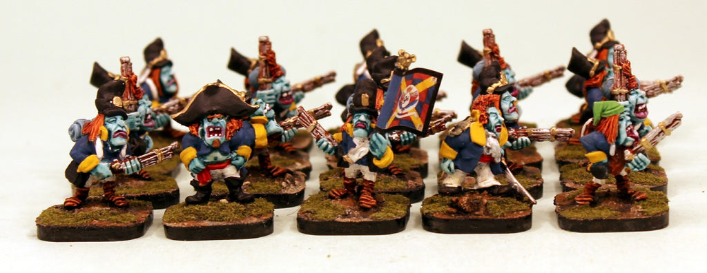 53502-U Goblin Line Infantry-Pro-Painted Unit of 20 Goblin Infantry (Yellow Cuffs): Ready to Ship