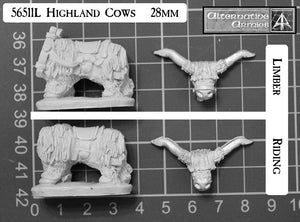 56511L Highland Cows for Riding and Limber 28mm scale