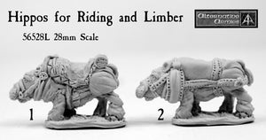 56528L Hippos for Riding and Limber 28mm scale