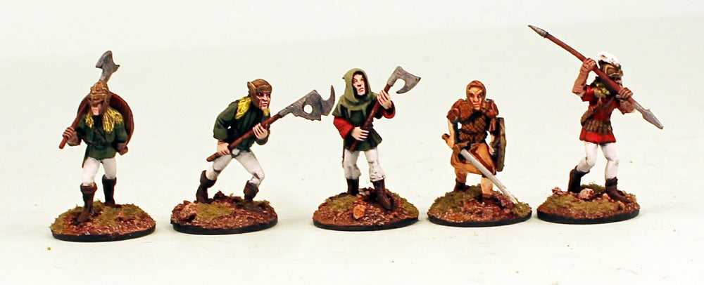 CE17 Crystal Elf Militia Pro-Painted 5 Miniatures Set-25mm Metal Bases