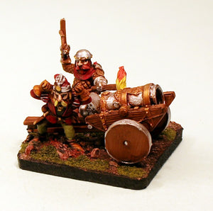DH10 Dwarf Bombard Pro-Painted 28mm Scale Fantasy 3 Piece Set: Ready to ship