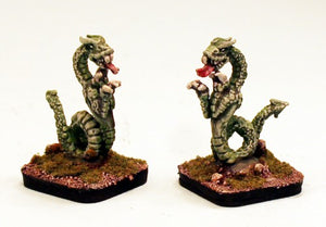 HOT110 Medieval Wyrms-Two Pro-Painted 15mm Monsters-ready to ship