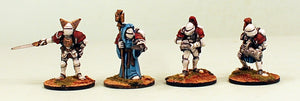 IB01 Retained Knights-Pro-Painted Set of 4 Space Opera Miniatures Set 1 (White Armour): Ready to Ship (MDF Bases)