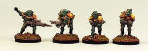 IB02 Retained Lance Command-Pro-Painted Set of 4 Space Opera Miniatures Set 2 (Green Armour): Ready to Ship