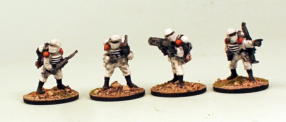 IB08 Muster Heavy Weapons-Pro-Painted Set of 4 Space Opera Miniatures: Set 2 White Armour MDF Bases & Ready to Ship