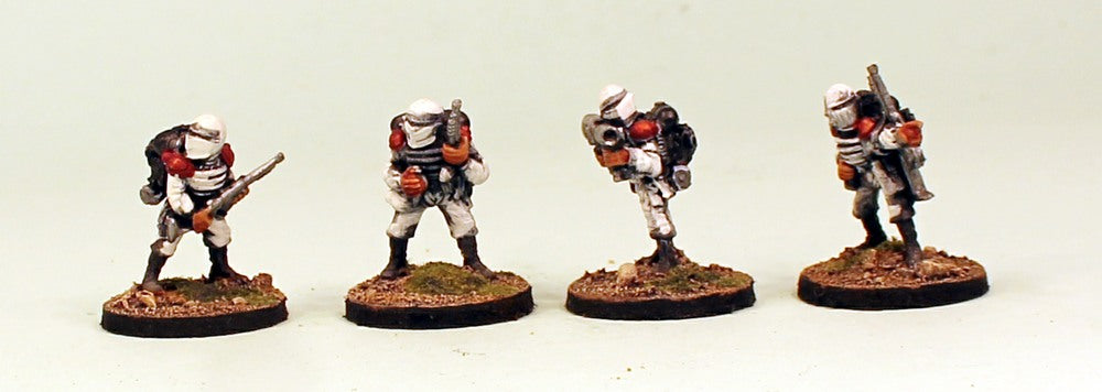 IB08 Muster Heavy Weapons-Pro-Painted Set of 4 Space Opera Miniatures: Set 2 in White Armour-Resin Bases: Ready to Ship
