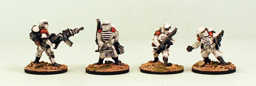 IB14 Muster Support Squad-Pro-Painted Set of 4 Space Opera Miniatures:Set 2 White Armour MDF Bases:Ready to Ship