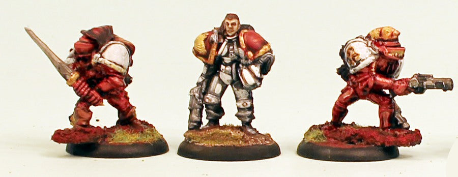 IB32 Knight Errants-Pro-Painted Set of 3 Space Opera Miniatures & Ready to Ship: Set 1-v Red Armour