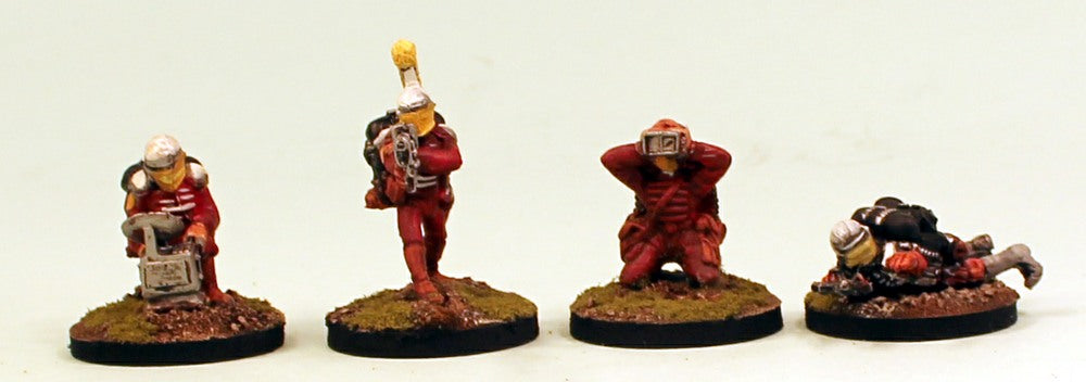 IB25 Muster Platoon Set 4 Red Armour Resin Bases-Pro-Painted Set of 4 Space Opera Miniatures: Ready to Ship