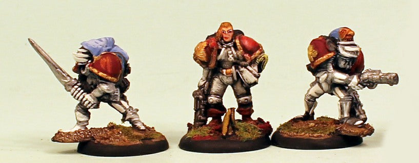 IB32 Knight Errants-Pro-Painted Set of 3 Space Opera Miniatures & Ready to Ship: Set 2: White Armour