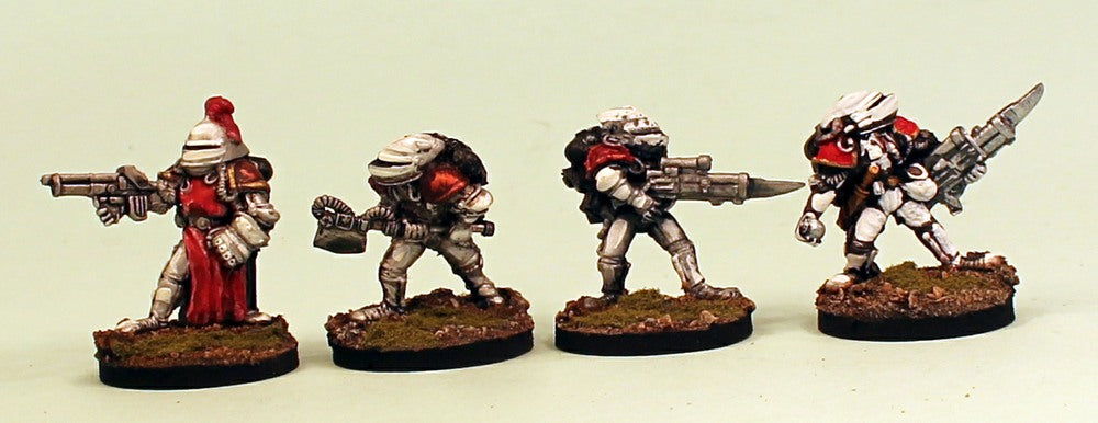 IB19 Retained Close Assault-Pro-Painted Set of 4 Space Opera Miniatures & Ready to Ship Set 1(Red Cloak) Resin Bases