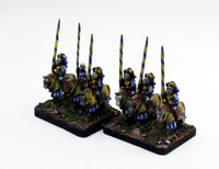 MRC12 French Gendarme 16thC Early: A Set of 2 Pro-Painted 15mm Cavalry Elements in Yellow/Blue Uniform: Ready to Ship