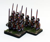 MRC12 French Gendarme 16thC Early: A Set of 3 Pro-Painted 15mm Cavalry Elements in Yellow/Violet Uniform: Ready to Ship