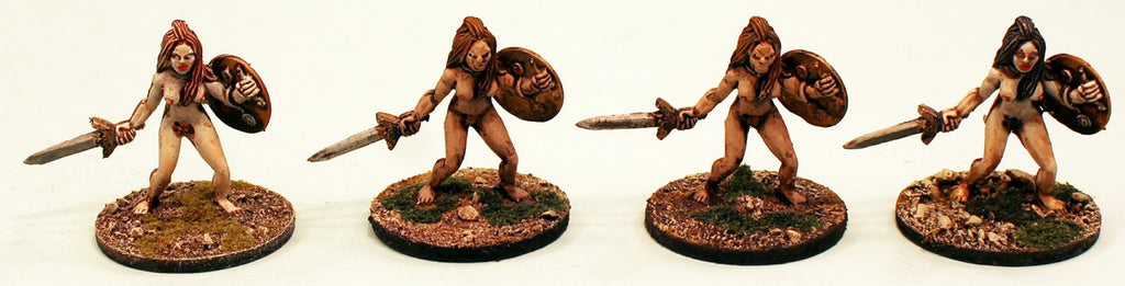Milesian Female Warriors: 4 Miniatures Pro-Painted & Ready to Ship