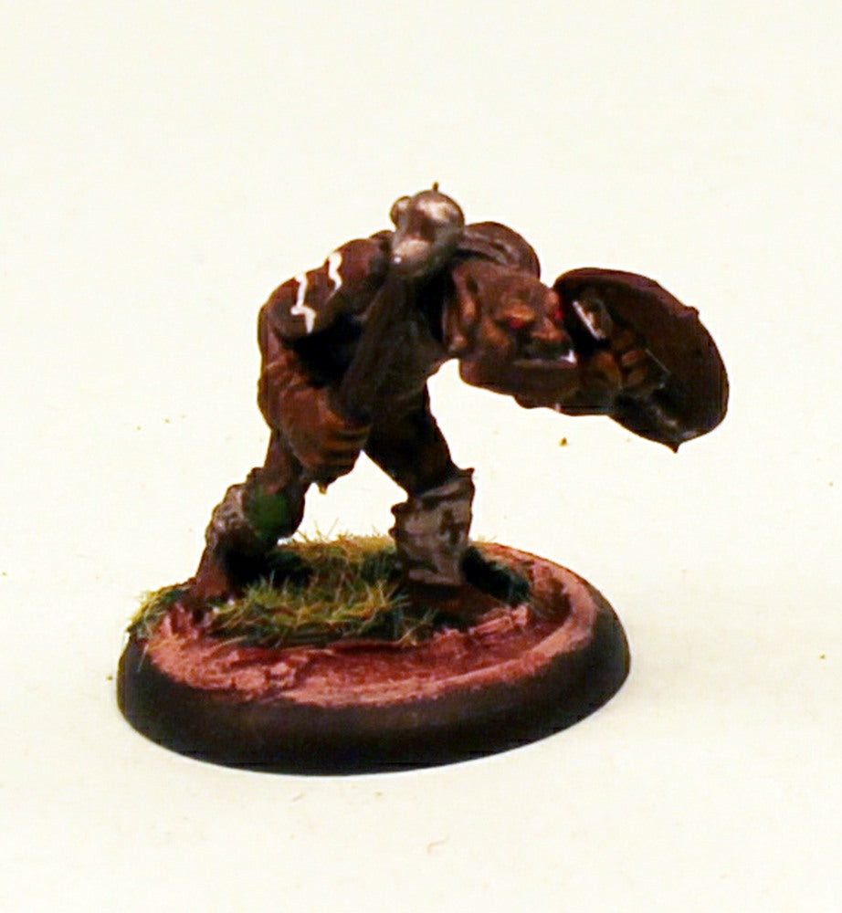 OH08-02: Orc thug with Shield and Mace-28mm Pro-Painted Fantasy-30mm Plastic Base (1) Ready to Ship