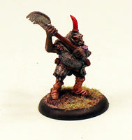 OH12-02: Orc veteran with two handed Axe and tusk helm-28mm Pro-Painted Fantasy-30mm Plastic Base (1) Ready to Ship