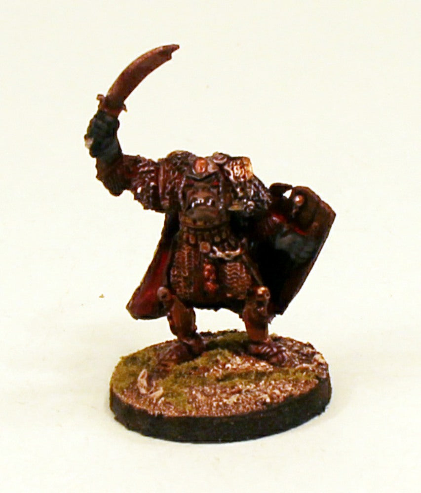 OH12-04: Orc veteran in armour with large Shield and Sword-28mm Pro-Painted Fantasy-30mm Resin Base (1) Ready to Ship