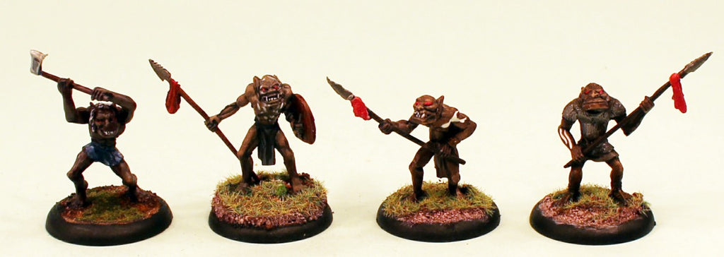 OH18 Orc Herd Guard 28mm Pro-Painted Fantasy-4 Miniatures Set-30mm Plastic Bases-Ready to Ship