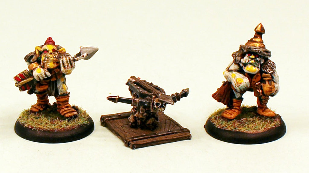 OH27 Orc Artillery 28mm Pro-Painted Fantasy-3 Miniatures Set-30mm Plastic Bases-Ready to Ship
